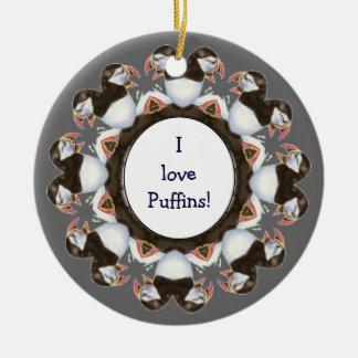"""Custom """"I love Puffins"""", Cute Watercolor Bird Round Ceramic Ornament"""