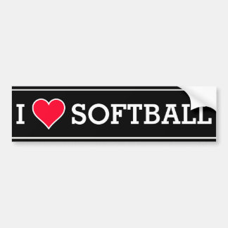 Custom I Love Softball Bumper Sticker