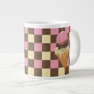 Custom Ice Cream Cone Chequered Pattern Jumbo Mugs