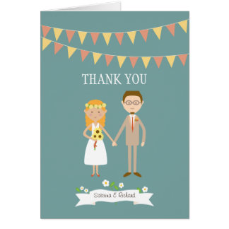 Custom Illustrated Cartoon Couple Portrait Wedding Card