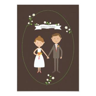 Custom Illustrated Cartoon Couple Portrait Wedding Card