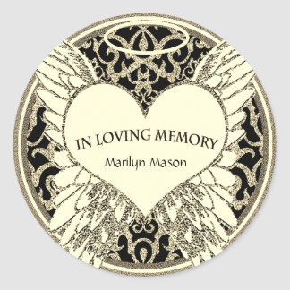 Custom In Loving Memory Angel Wings Classic Round Sticker