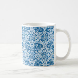 Custom Indigo Blue Floral Faux Lace Pattern Coffee Mug