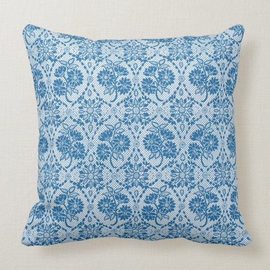 Custom Indigo Blue Floral Faux Lace Pattern Throw Pillow