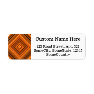 Custom Info + Brown & Orange Squares Pattern
