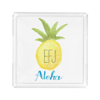 Custom Initial Aloha Pineapple Watercolor Tray
