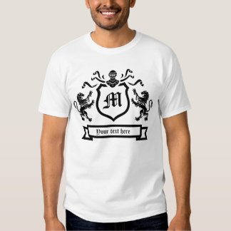 Custom Initial and Text - coat of arms - T-Shirt