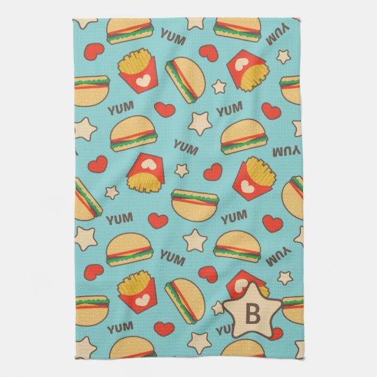 Custom Initial   Burger & Fries Pattern Towels