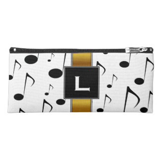 Custom Initial + Many Musical Notes Pattern Pencil Case