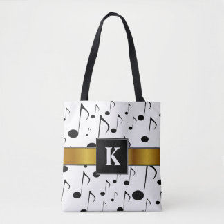 Custom Initial + Many Musical Notes Pattern Tote Bag