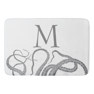 Custom initial monogram nautical octopus kraken bath mat