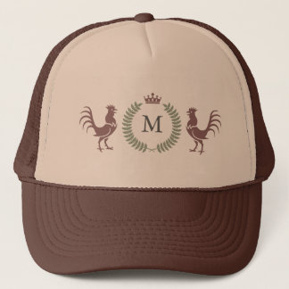 Custom Initial Monogram Roosters Design Trucker Hat