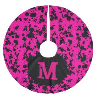 Custom initial pink paint splatter tree skirt brushed polyester tree skirt