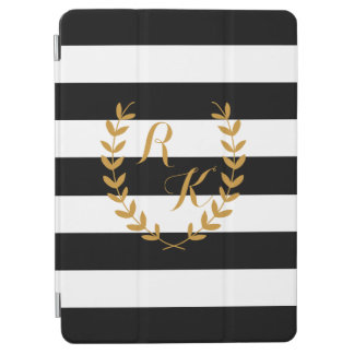 Custom Initial Preppy iPad Case with Golden Wreath iPad Air Cover