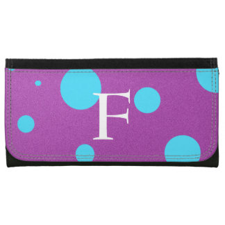 Custom Initial Purple and Blue Polka Dot Wallet