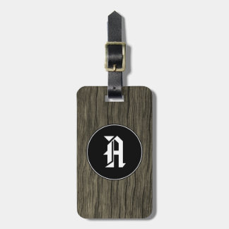 Custom Initial + Rustic Wood Look Pattern Luggage Tag