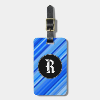 Custom Initial + Stripes of Blue Pattern Luggage Tag