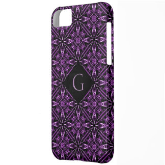 Custom Initial Victorian Purple Fractal Pattern iPhone 5C Cases