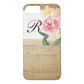 Custom Initial Vintage Sheet Music Phone Case