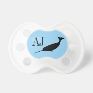 Custom Initials Boys Narwhal Pacifier