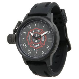 Custom Initials Firefighter Maltese Cross Black Watch