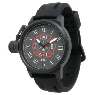Custom Initials Firefighter Maltese Cross Black Wristwatch