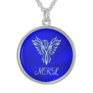 Custom initials, Ice-blue Phoenix Rising emblem Sterling Silver Necklace
