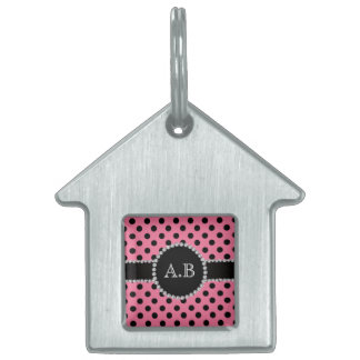 Custom initials light pink black polka dots pet ID tag