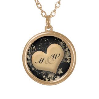 Custom Initials, Love Golden Heart Necklace