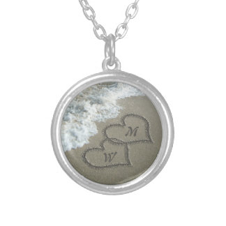 Custom Initials, Love Hearts on Beach for Her Silver Plated Necklace