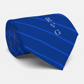Custom Initials Veterinary Symbol Blue Striped Tie