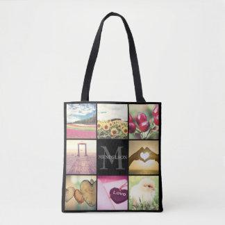 Custom instagram photo collage name initial tote bag