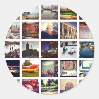 Custom Instagram Photo Collage Round Sticker