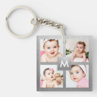 Custom Instagram Photo Collage Silver Monogram Keychain