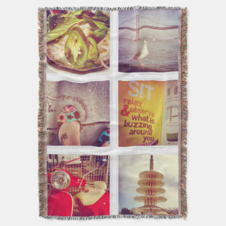 Custom Instagram Photo Collage Throw Blanket