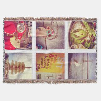 Custom Instagram Photo Collage Throw Blanket