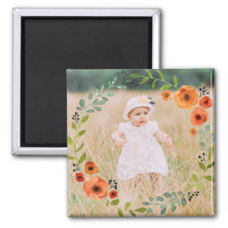 Custom Instagram Photo | Create Your Own Floral Square Magnet