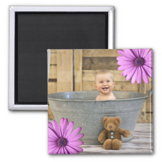 Custom Instagram Photo | Create Your Own Flowers Square Magnet