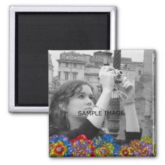 Custom Instagram Photo   Faux Glitter Flowers Square Magnet