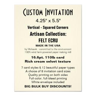 "Custom Invitation 4.25"" x 5.5"" FELT ECRU"
