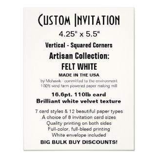 """Custom Invitation 4.25"""" x 5.5"""" FELT WHITE"""