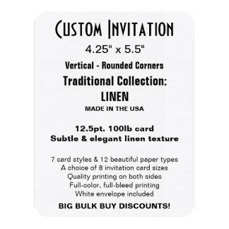 "Custom Invitation 4.25"" x 5.5"" LINEN Rounded"