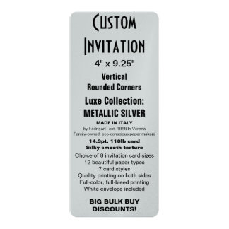 "Custom Invitation 4"" x 9.25"" SILVER Rounded"