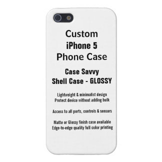 Custom iPhone 5 GLOSSY Case Savvy Shell Case iPhone 5 Case