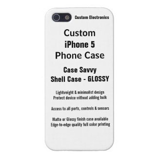 Custom iPhone 5 GLOSSY Case Savvy Shell Case iPhone 5 Cover