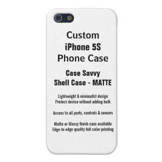 Custom iPhone 5S MATTE Case Savvy Shell Case iPhone 5 Covers