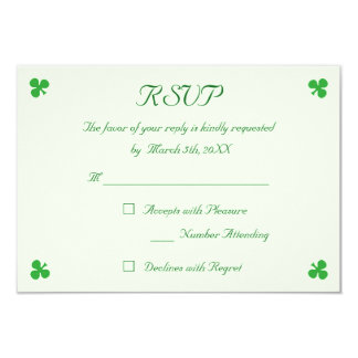 Custom Irish Green Shamrock Clover Wedding RSVP Card