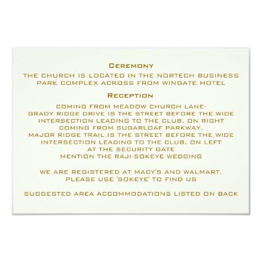 Custom Ivory Wedding Information Card