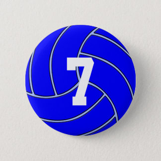 CUSTOM JERSEY NUMBER Blue Volleyball Round Button