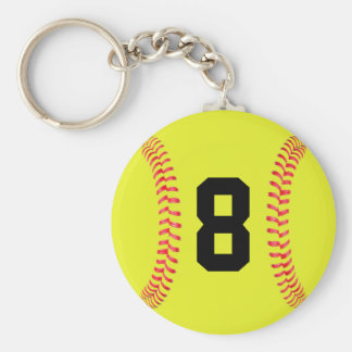 Custom Jersey Number Fastpitch Softball Keychains